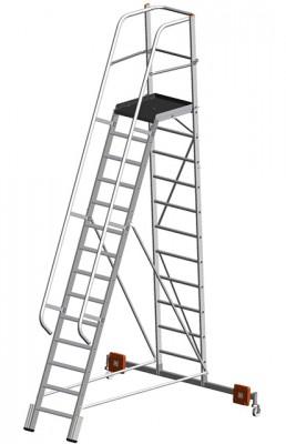 Stabilo® Podestleiter Vario, einseitig begehbar - Aufstellbreite 2.07 m - Arbeitshöhe 5.30 m - 1 x 14 Stufen