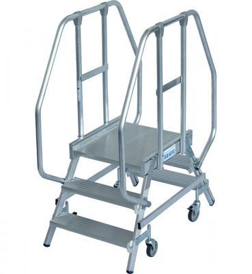 Stabilo® Professional Podestleiter fahrbar - beidseitig begehbar - Alu - Arbeitshöhe bis 2.70 m - 2 x 3 Stufen