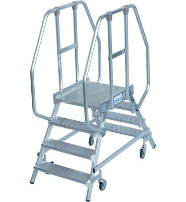 Stabilo® Professional Podestleiter fahrbar - beidseitig begehbar - Alu - Arbeitshöhe bis 2.95 m - 2 x 4 Stufen