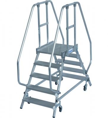 Stabilo® Professional Podestleiter fahrbar - beidseitig begehbar - Alu - Arbeitshöhe bis 3.20 m - 2 x 5 Stufen