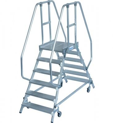 Stabilo® Professional Podestleiter fahrbar - beidseitig begehbar - Alu - Arbeitshöhe bis 3.45 m - 2 x 6 Stufen