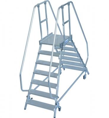 Stabilo® Professional Podestleiter fahrbar - beidseitig begehbar - Alu - Arbeitshöhe bis 3.65 m - 2 x 7 Stufen