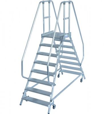 Stabilo® Professional Podestleiter fahrbar - beidseitig begehbar - Alu - Arbeitshöhe bis 3.90 m - 2 x 8 Stufen