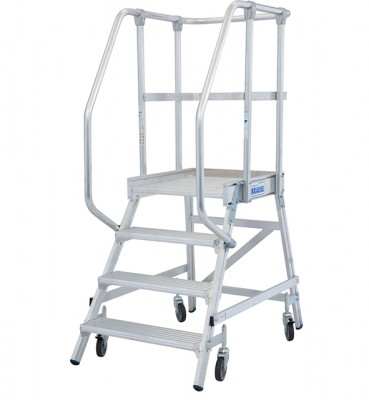 Stabilo® Professional Podestleiter fahrbar - einseitig begehbar - Alu - Arbeitshöhe bis 2.95 m - 1 x 4 Stufen