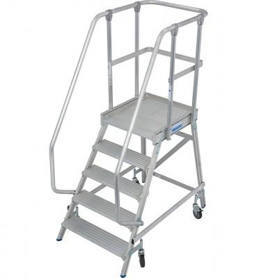 Stabilo® Professional Podestleiter fahrbar - einseitig begehbar - Alu - Arbeitshöhe bis 3.20 m - 1 x 5 Stufen
