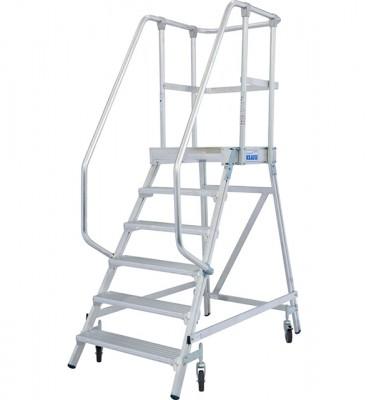 Stabilo® Professional Podestleiter fahrbar - einseitig begehbar - Alu - Arbeitshöhe bis 3.45 m - 1 x 6 Stufen