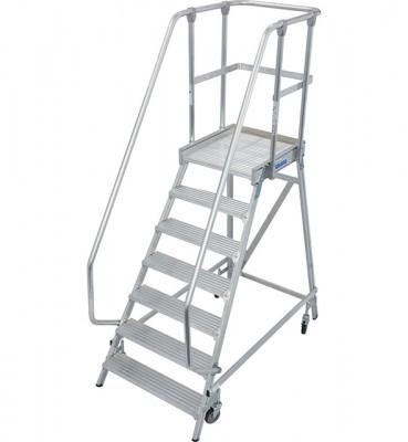 Stabilo® Professional Podestleiter fahrbar - einseitig begehbar - Alu - Arbeitshöhe bis 3.65 m - 1 x 7 Stufen
