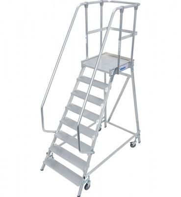 Stabilo® Professional Podestleiter fahrbar - einseitig begehbar - Alu - Arbeitshöhe bis 3.90 m - 1 x 8 Stufen