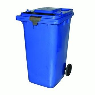 240 Liter Sicherheitsbehälter mit Einwurfschlitz und Schliessvorrichtung - Kunststoff blau