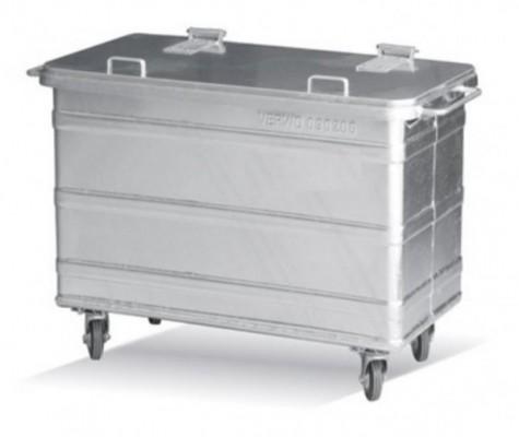 400 Liter Standard Stahlcontainer - 4 Lenkrollen mit einer Bremse