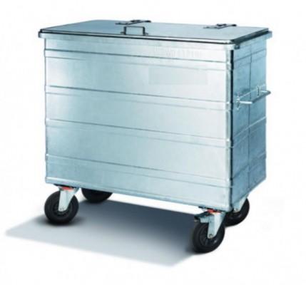 600 Liter Standard Stahlcontainer - 4 Lenkrollen mit einer Bremse