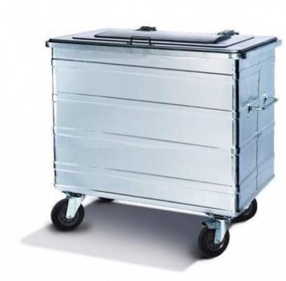800 Liter Standard Stahlcontainer - 4 Lenkrollen, 1 Bremse und 2 Richtungsfeststeller