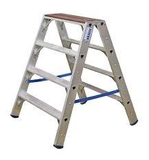 Stufen-Doppelleiter mit Holzauflage, Stabilo® Professional 2 x 4 Stufen