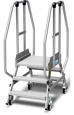 Stabilo® Podestleiter fahrbar, beidseitig begehbar, 15 cm Fussleiste, extra hohem Plattformgeländer, Arbeitshöhe bis 2.70m, 2x3 Stufen