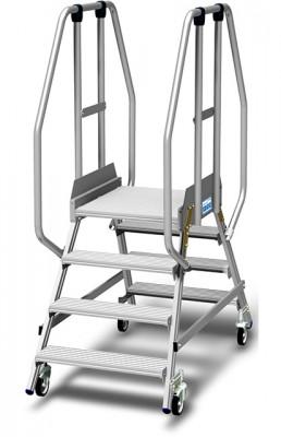 Stabilo® Podestleiter fahrbar, beidseitig begehbar, 15 cm Fussleiste, extra hohem Plattformgeländer, Arbeitshöhe bis 2.95m, 2x4 Stufen