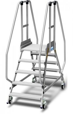 Stabilo® Podestleiter fahrbar, beidseitig begehbar, 15 cm Fussleiste, extra hohem Plattformgeländer, Arbeitshöhe bis 3.20m, 2x5 Stufen
