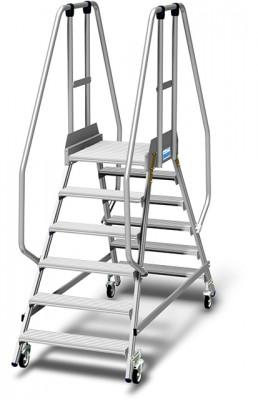 Stabilo® Podestleiter fahrbar, beidseitig begehbar, 15 cm Fussleiste, extra hohem Plattformgeländer, Arbeitshöhe bis 3.45m, 2x6 Stufen
