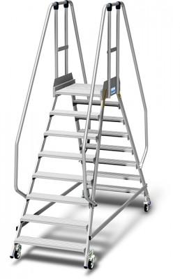 Stabilo® Podestleiter fahrbar, beidseitig begehbar, 15 cm Fussleiste, extra hohem Plattformgeländer, Arbeitshöhe bis 3.90m, 2x8 Stufen