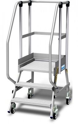 Stabilo® Podestleiter fahrbar, einseitig begehbar, 15 cm Fussleiste, extra hohem Plattformgeländer, Arbeitshöhe bis 2.70m, 1x3 Stufen