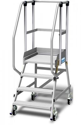 Stabilo® Podestleiter fahrbar, einseitig begehbar, 15 cm Fussleiste, extra hohem Plattformgeländer, Arbeitshöhe bis 2.95m, 1x4 Stufen