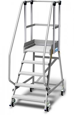 Stabilo® Podestleiter fahrbar, einseitig begehbar, 15 cm Fussleiste, extra hohem Plattformgeländer, Arbeitshöhe bis 3.20m, 1x5 Stufen