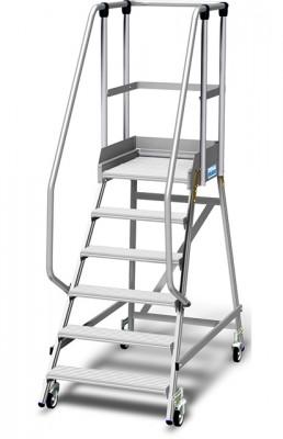 Stabilo® Podestleiter fahrbar, einseitig begehbar, 15 cm Fussleiste, extra hohem Plattformgeländer, Arbeitshöhe bis 3.45m, 1x6 Stufen