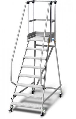 Stabilo® Podestleiter fahrbar, einseitig begehbar, 15 cm Fussleiste, extra hohem Plattformgeländer, Arbeitshöhe bis 3.90m, 1x8 Stufen