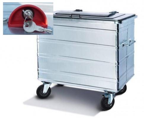 800 Liter Standard Stahlcontainer mit montiertem Automatik-Kippschloss SUDHAUS inkl. 2 Schlüssel