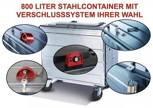 800 Liter Standard Stahlcontainer mit montiertem Verschlusssystem Ihrer Wahl