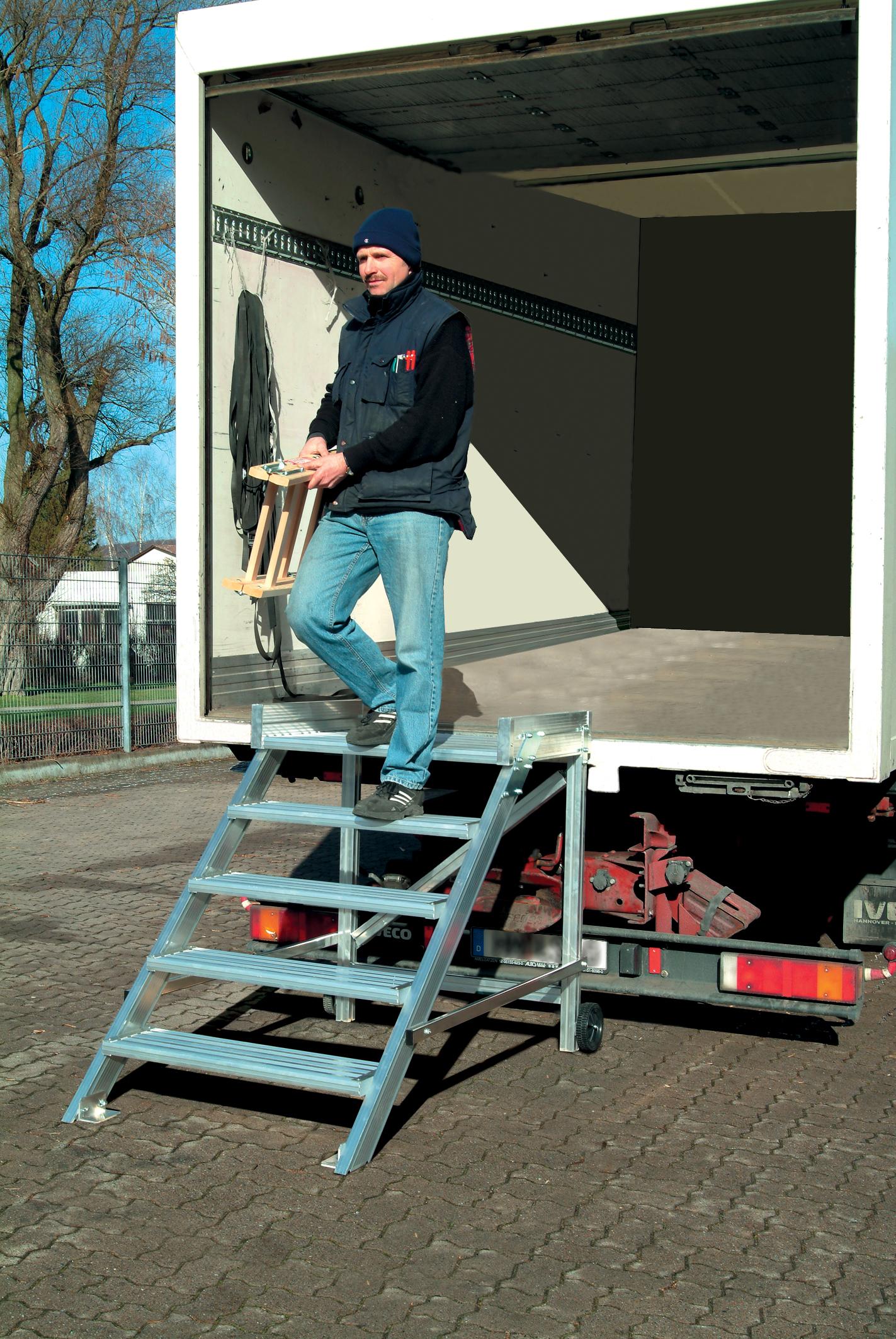 podest treppe fahrbar leichtmetall 2 stufen 600 mm. Black Bedroom Furniture Sets. Home Design Ideas