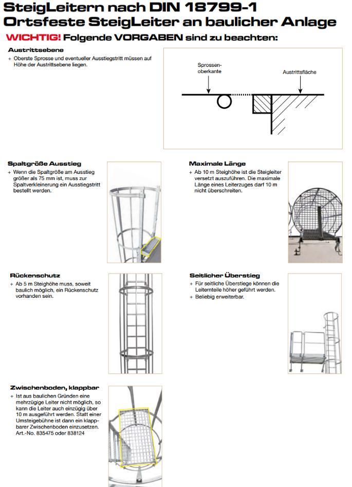 steigleiter einz gig nach din 18799 1 steigh he bis m. Black Bedroom Furniture Sets. Home Design Ideas